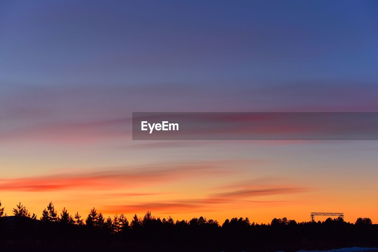 sunset, silhouette, beauty in nature, tree, scenics, nature, tranquil scene, orange color, sky, tranquility, no people, outdoors, landscape, day