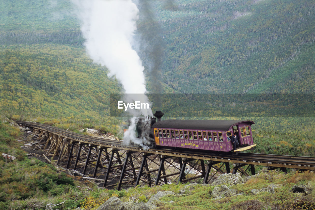 smoke - physical structure, train, rail transportation, plant, transportation, train - vehicle, mountain, nature, environment, tree, day, motion, land, landscape, public transportation, mode of transportation, no people, beauty in nature, steam train, scenics - nature, outdoors, track, pollution, air pollution