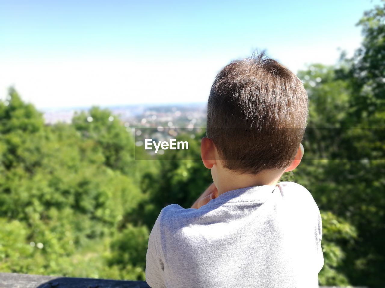 Rear View Of Boy Against Sky At Lookout Tower