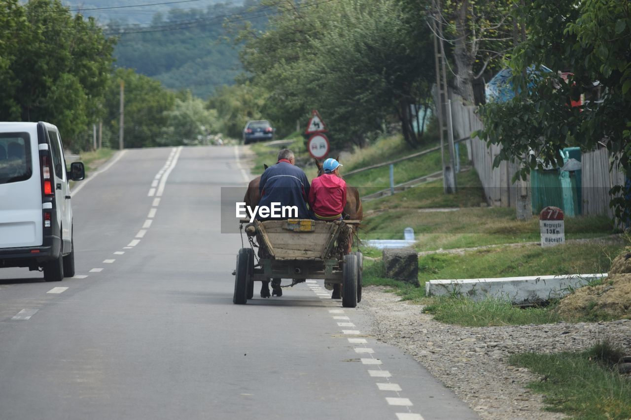 Rear view of people on horse cart