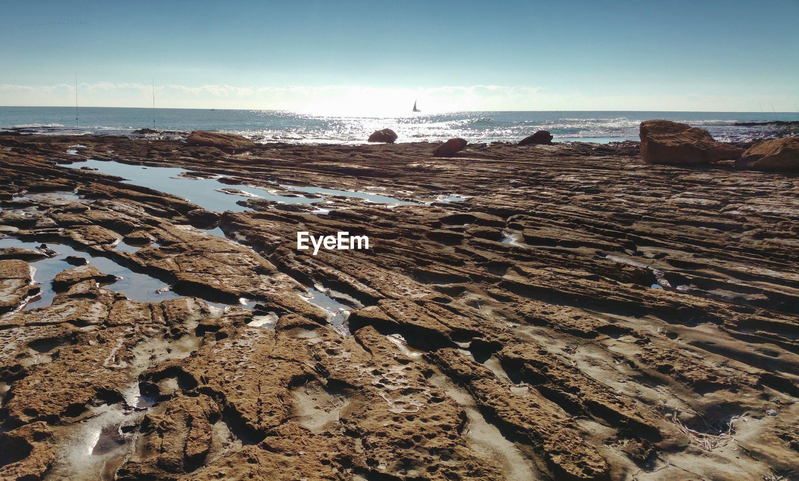 View of rocky sea shore