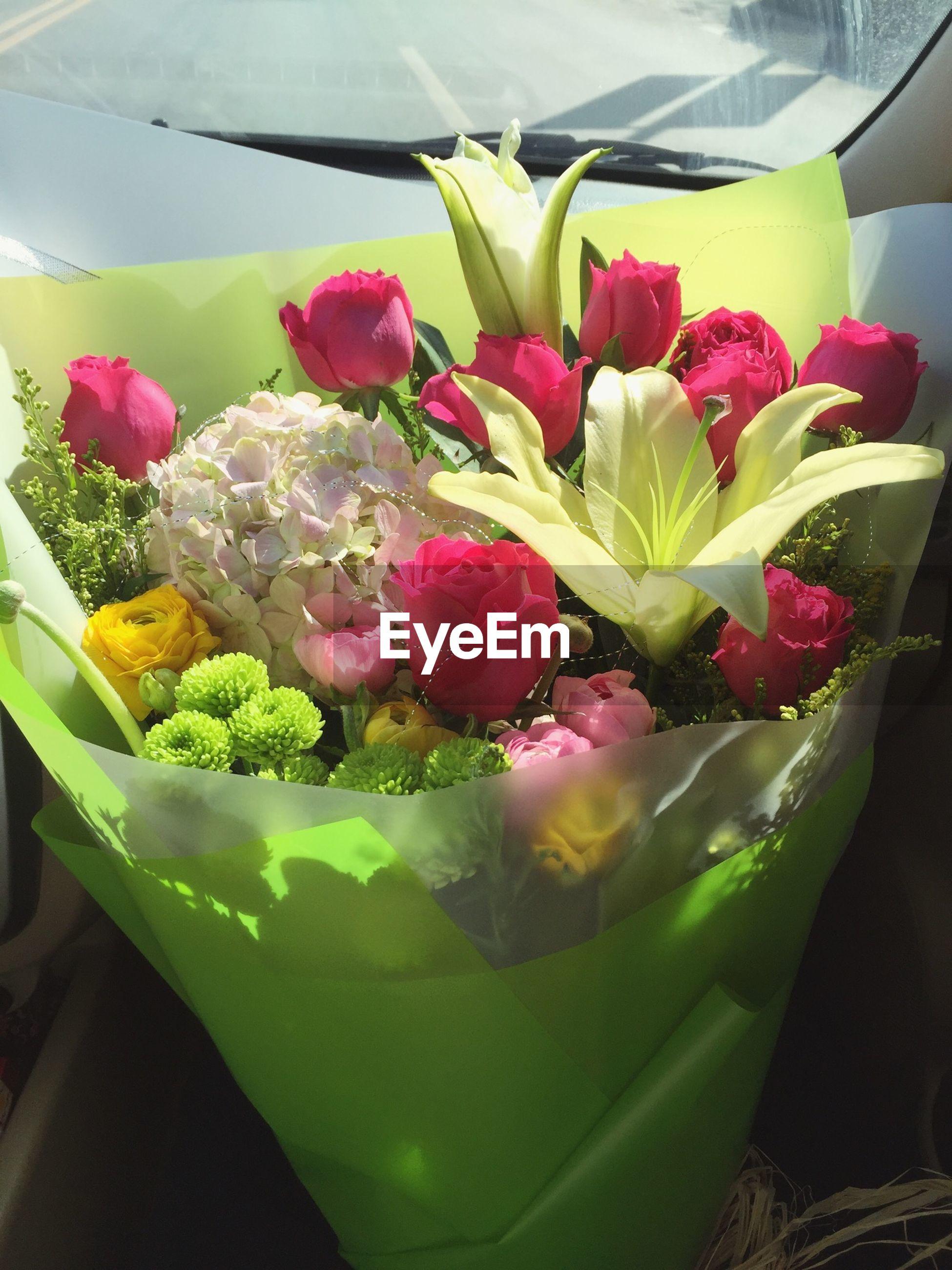 flower, freshness, indoors, fragility, petal, plant, close-up, flower head, beauty in nature, pink color, growth, leaf, nature, vase, tulip, variation, no people, potted plant, flower arrangement, green color