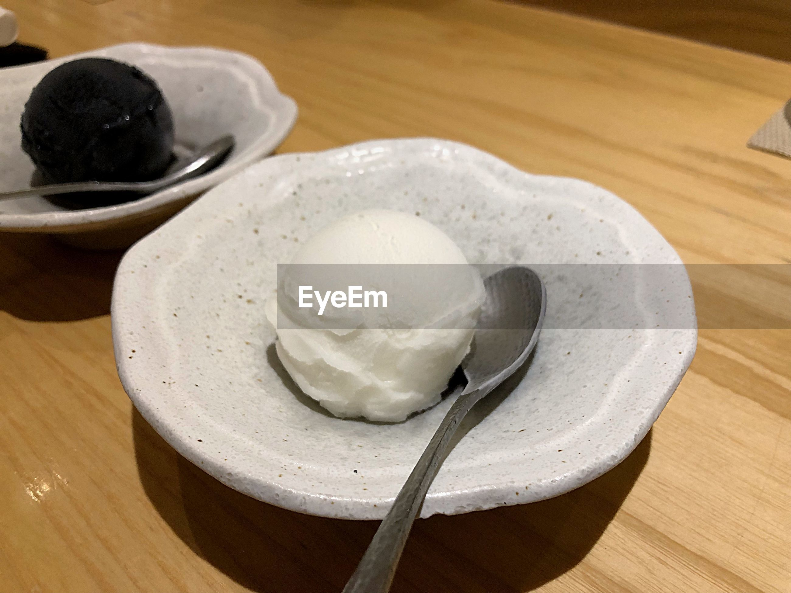 High angle view of ice cream in bowl on table