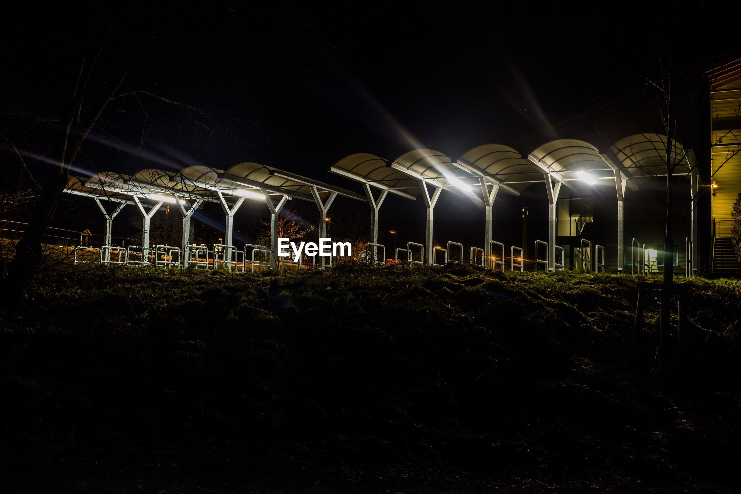 night, illuminated, built structure, architecture, no people, industry, sky, indoors, nature