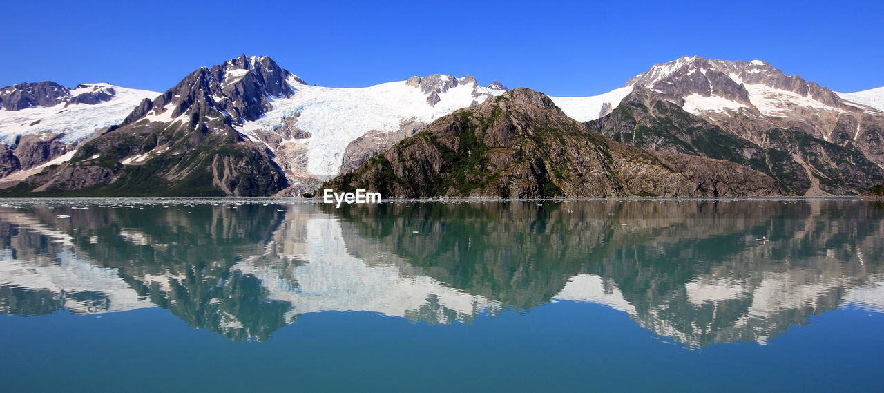 REFLECTION OF MOUNTAIN RANGE IN WATER