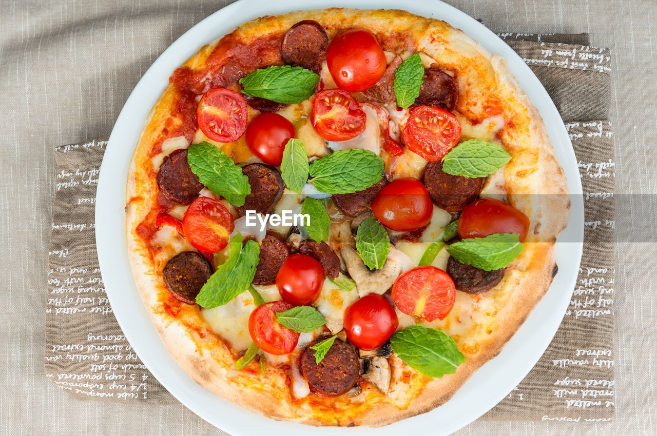 food and drink, food, freshness, tomato, indoors, ready-to-eat, table, directly above, plate, no people, high angle view, pizza, close-up, healthy eating, basil, day