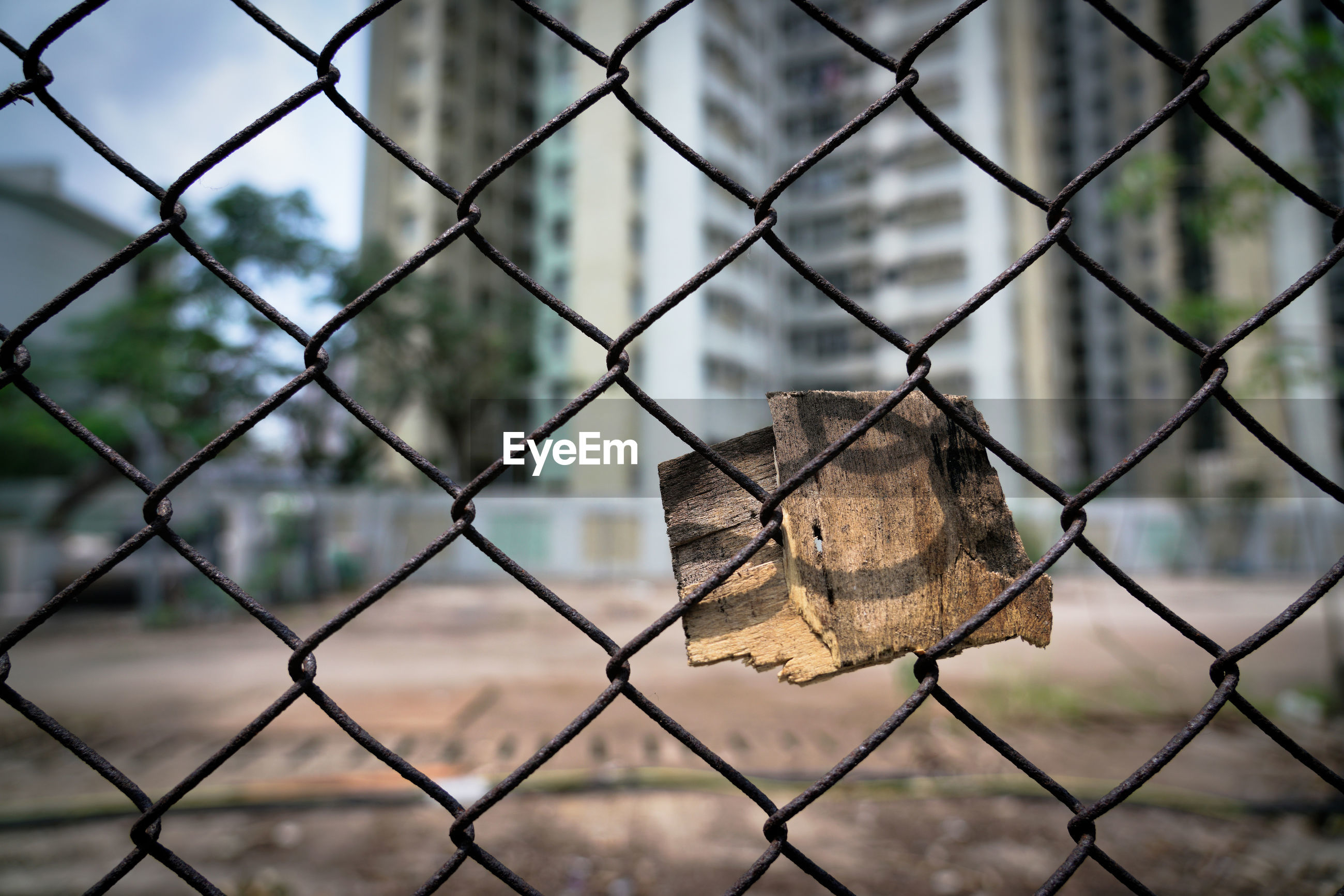 CLOSE-UP OF PADLOCK ON CHAINLINK FENCE AGAINST BLURRED BACKGROUND