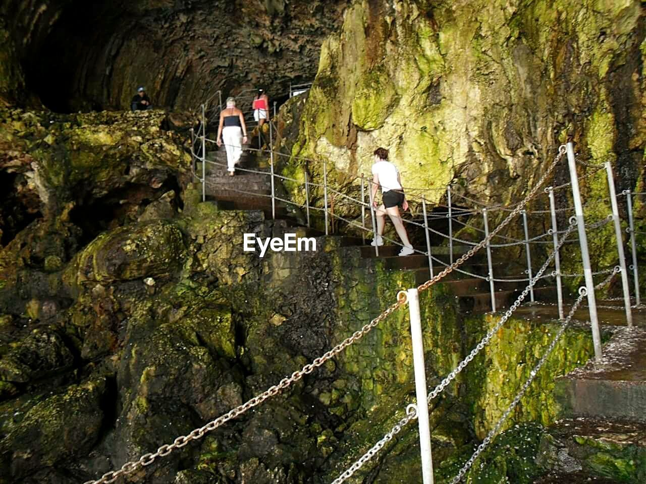 real people, leisure activity, rock - object, rope, full length, lifestyles, men, adventure, bridge - man made structure, nature, climbing, outdoors, day, extreme sports, large group of people, women, footbridge, beauty in nature, people, adult
