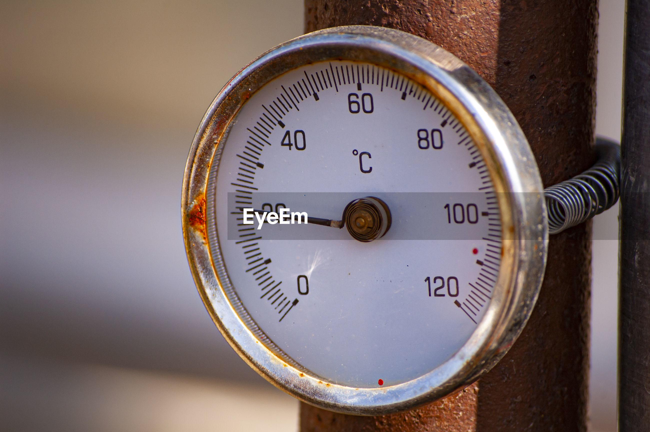 Close-up of pressure gauge