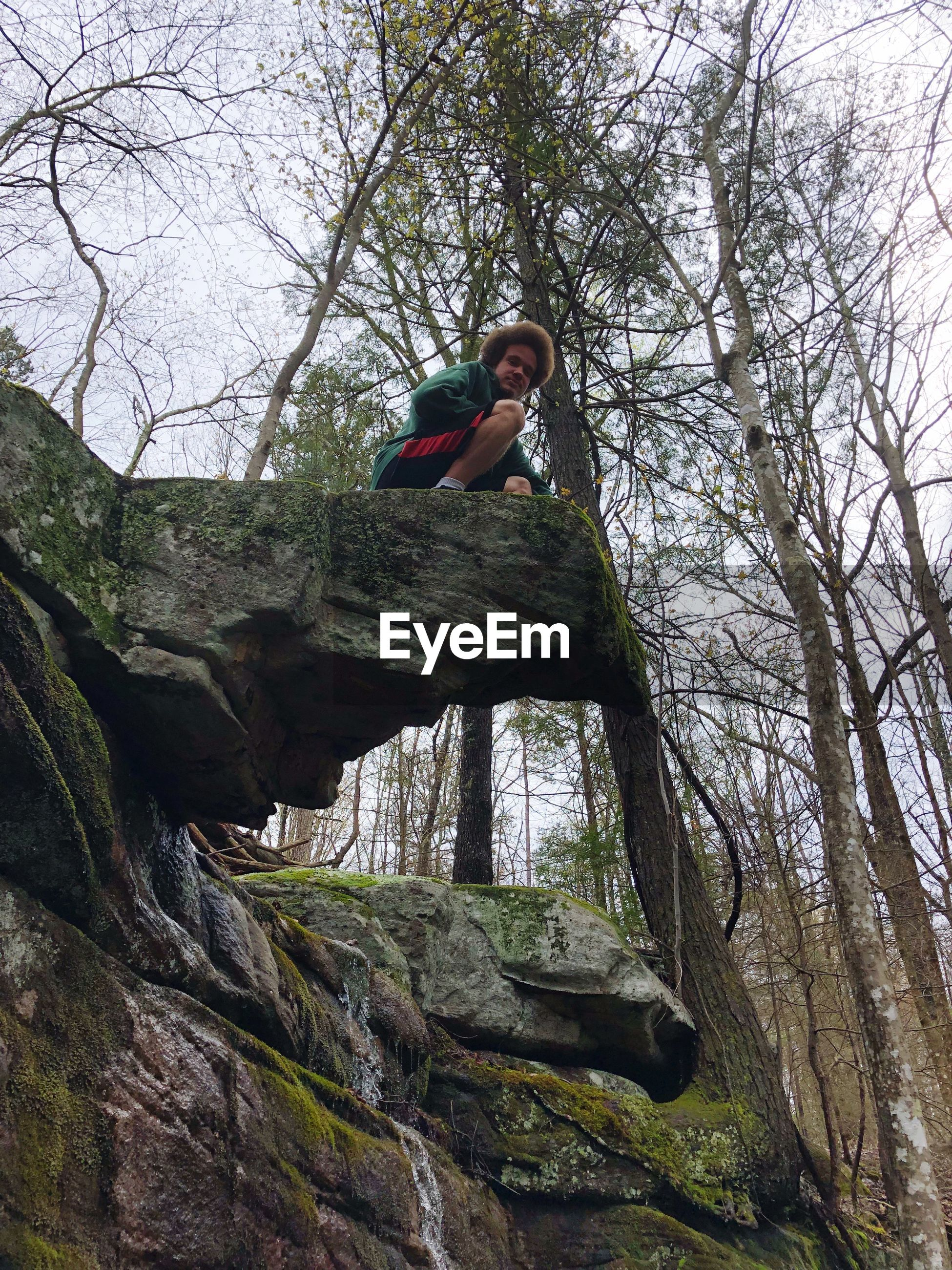 Low angle view of teenage boy on rock against bare trees in forest
