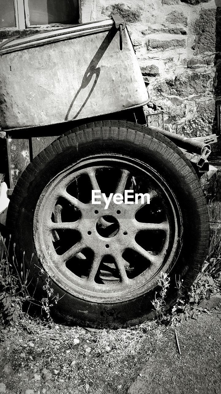 tire, wheel, no people, day, transportation, outdoors, land vehicle, close-up