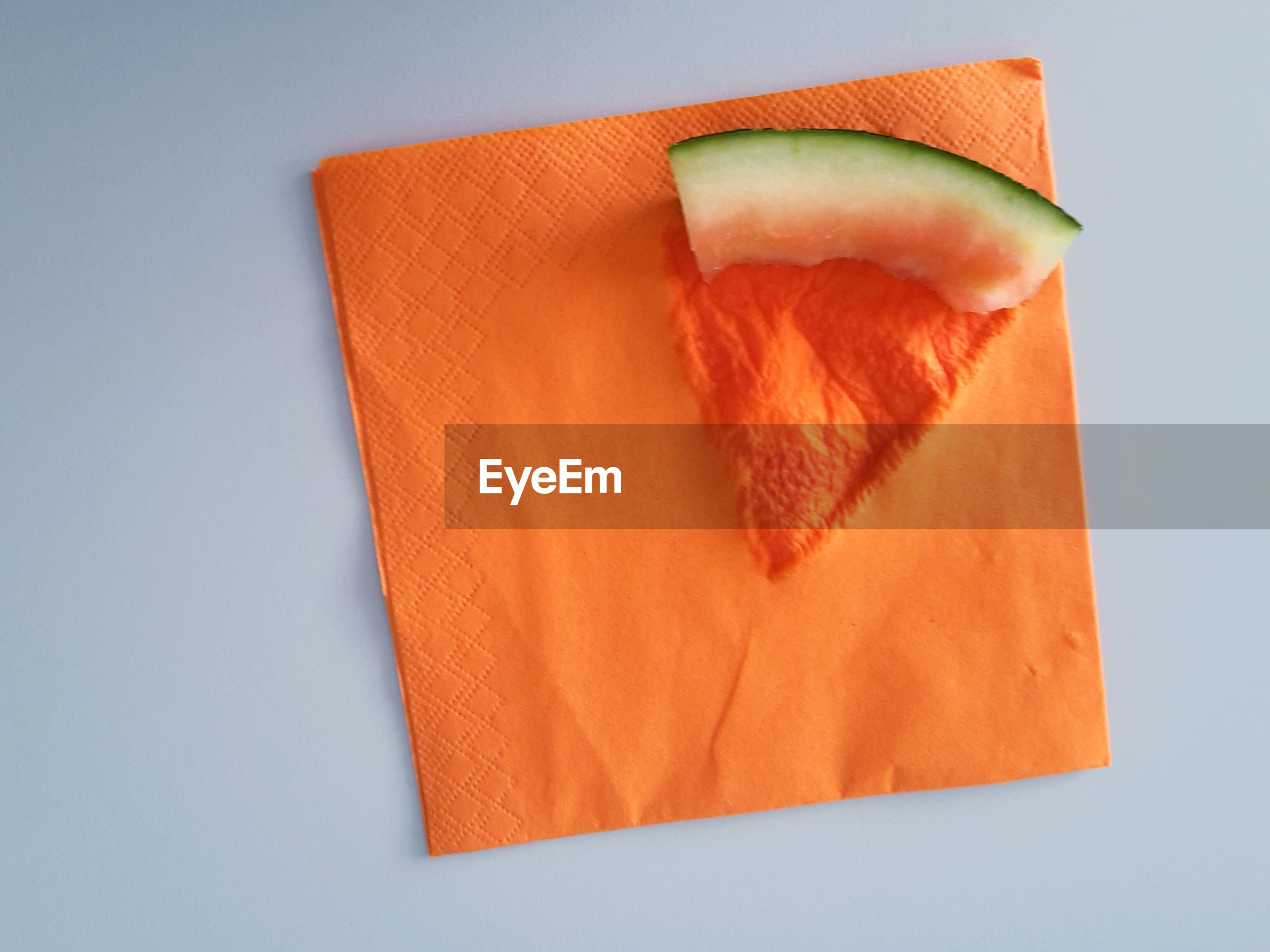 Close-up overhead view of watermelon slice