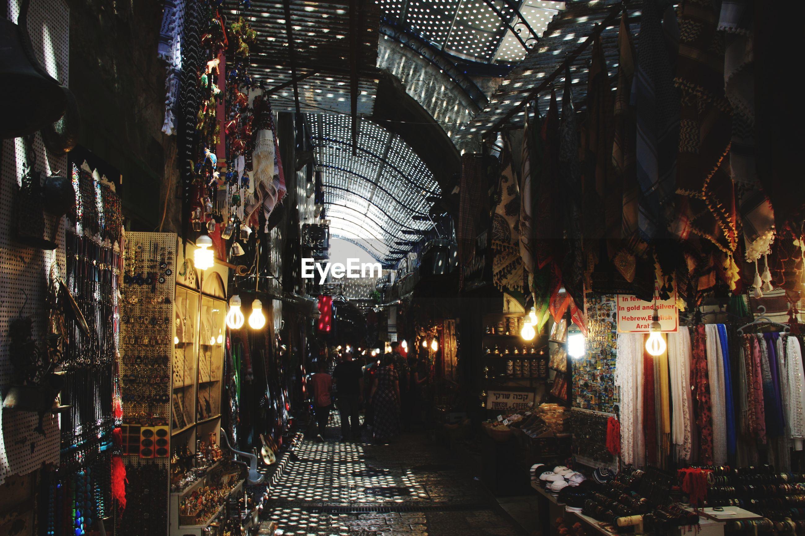 Illuminated market in city