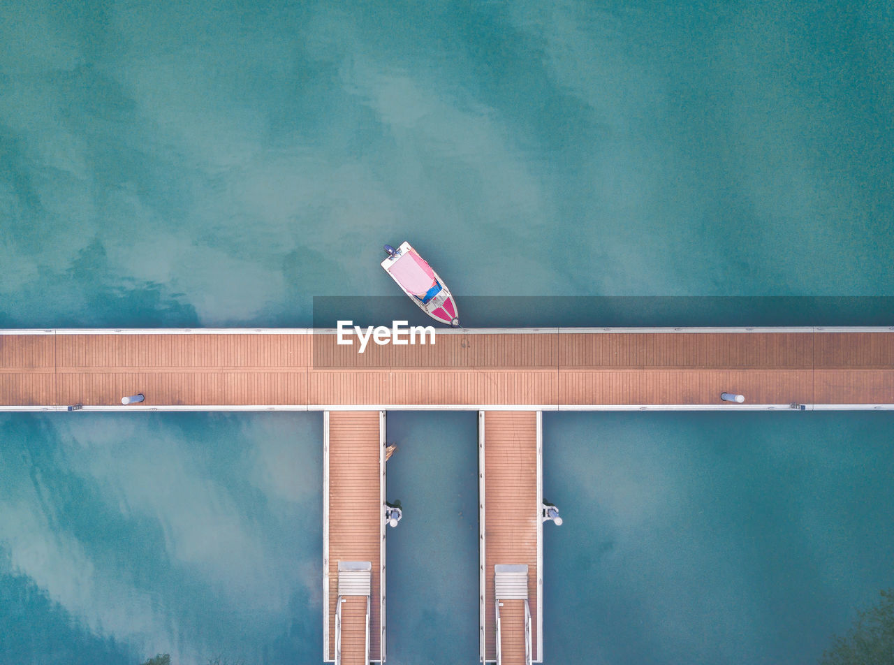 Aerial View Of Boat In Marina