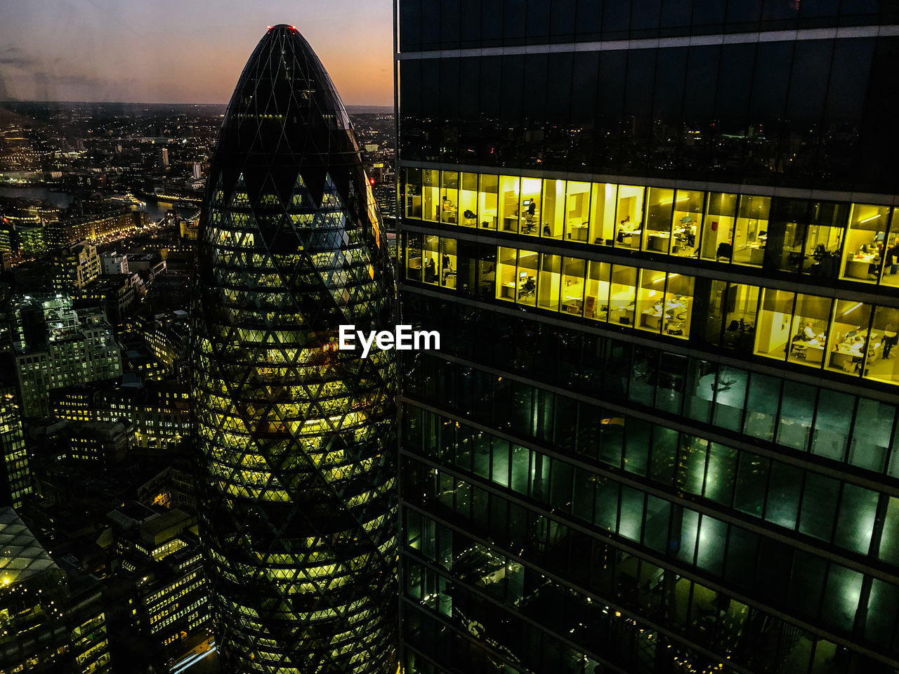 AERIAL VIEW OF MODERN CITY BUILDINGS