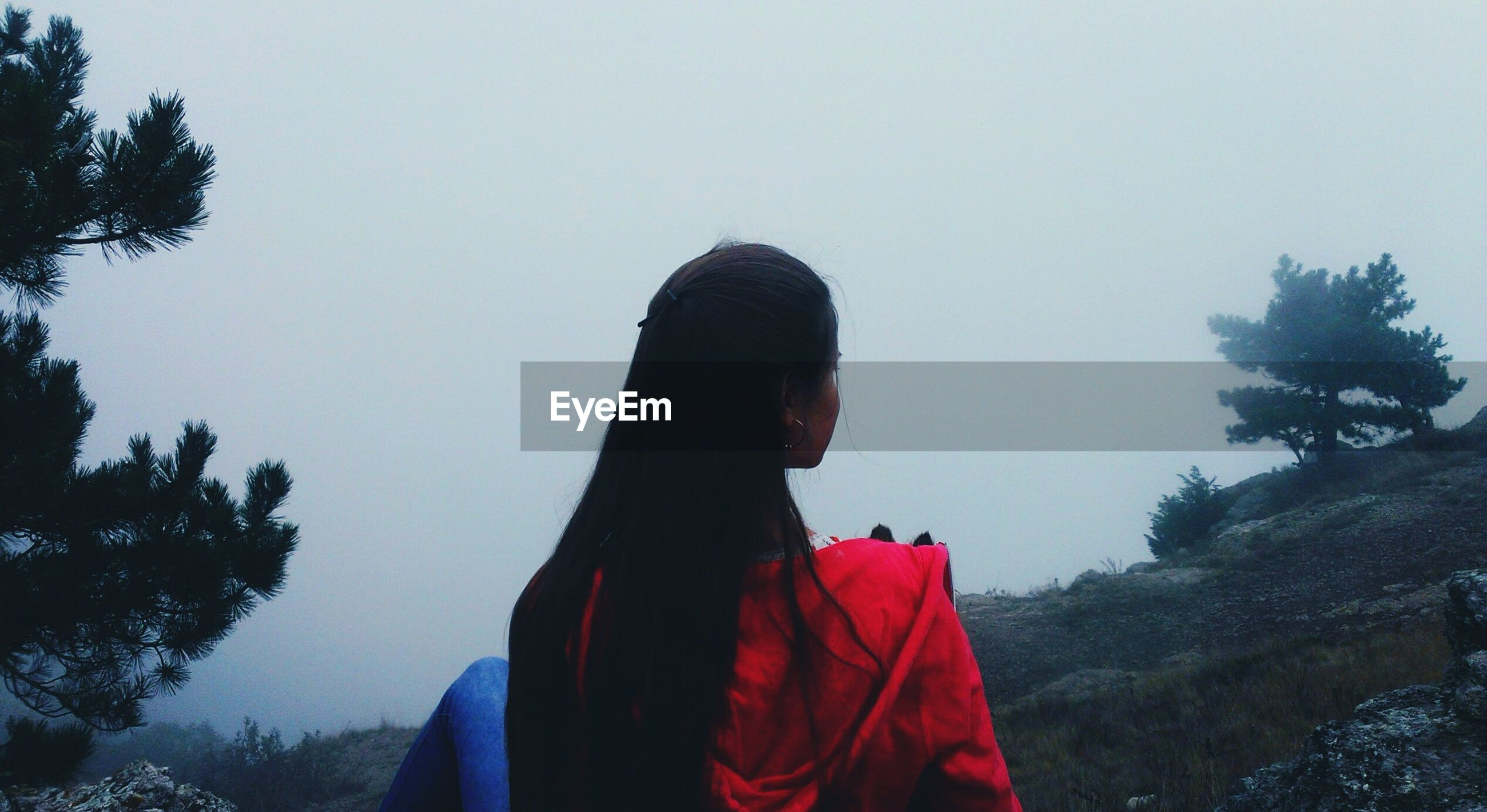 Rear view of woman sitting on cliff during foggy weather