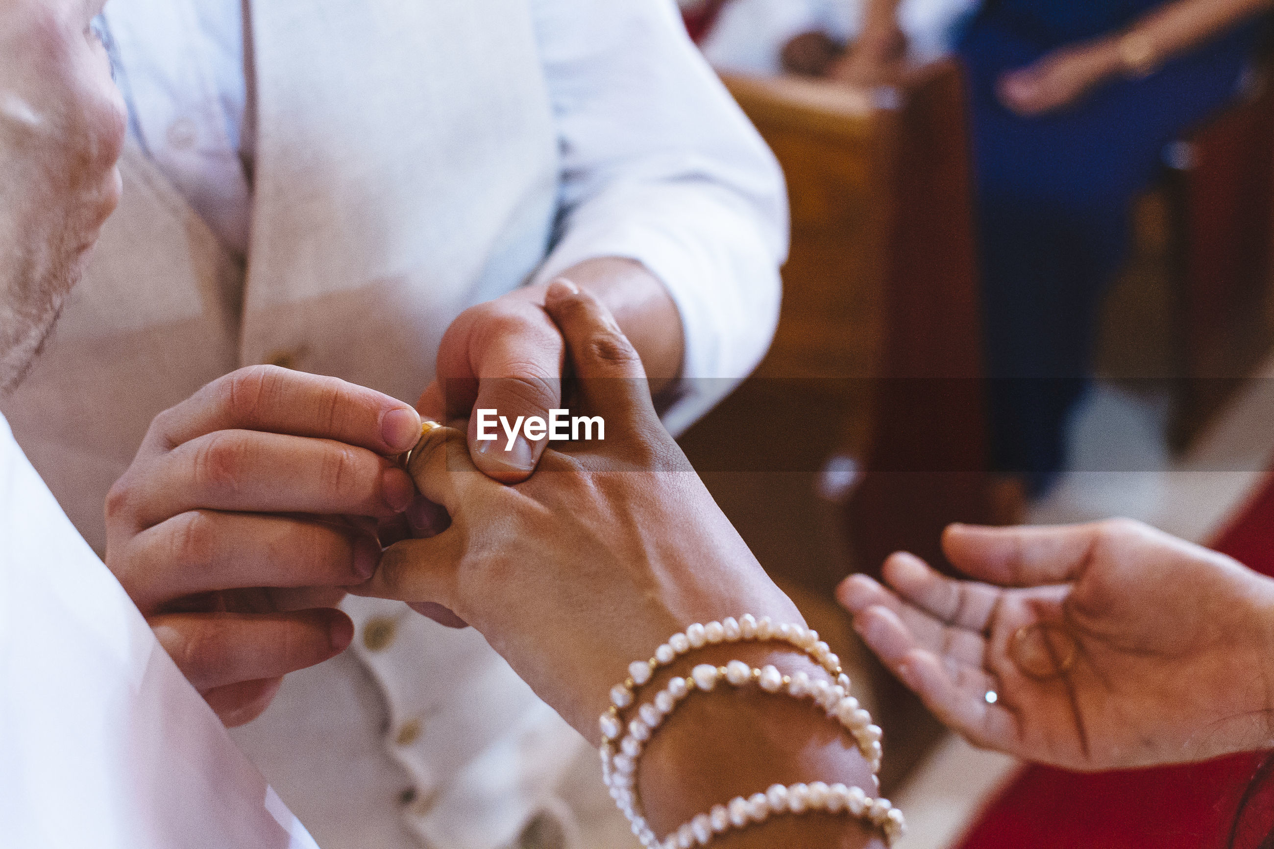 High angle view of couple during wedding