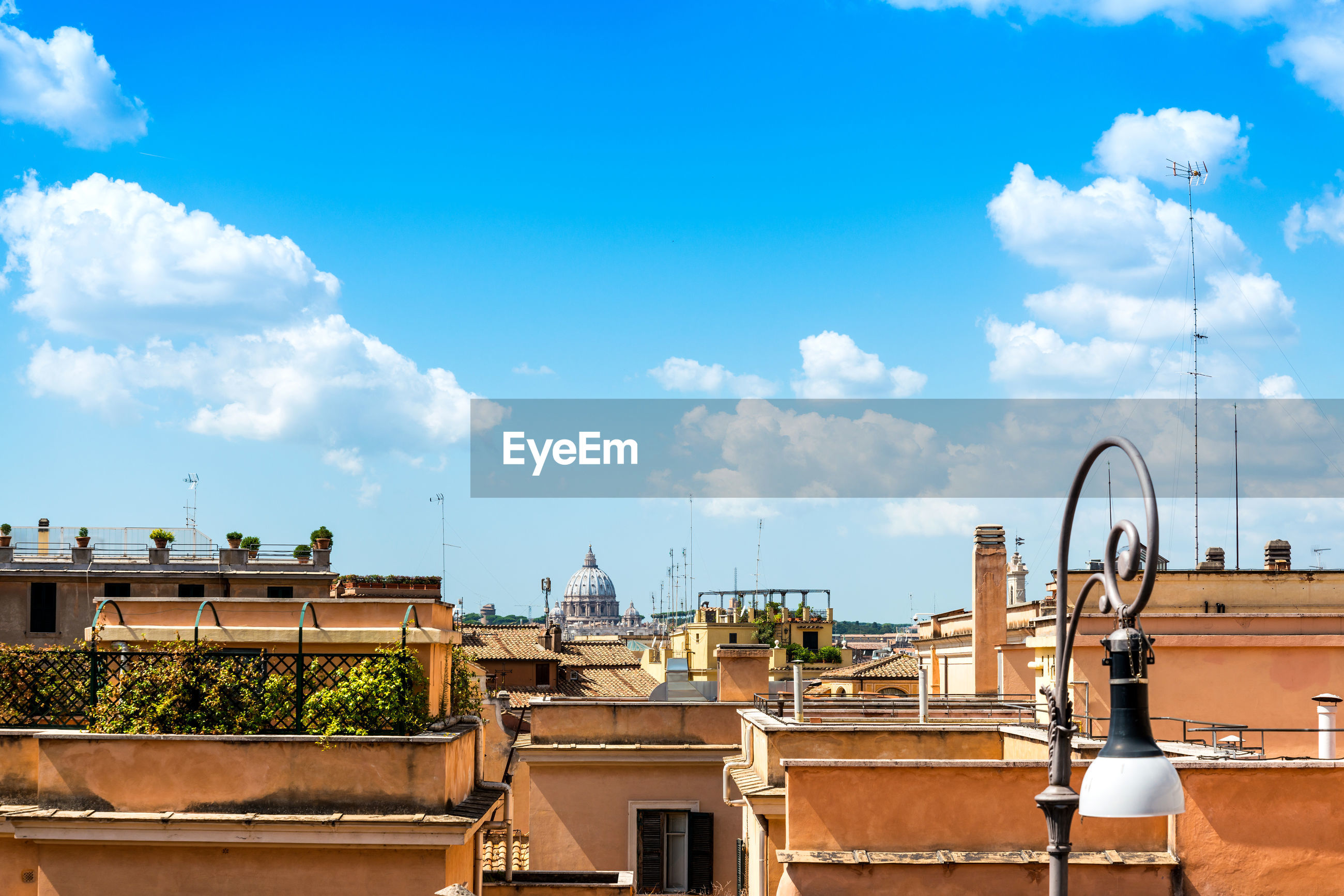 Distant view of st peter basilica in city