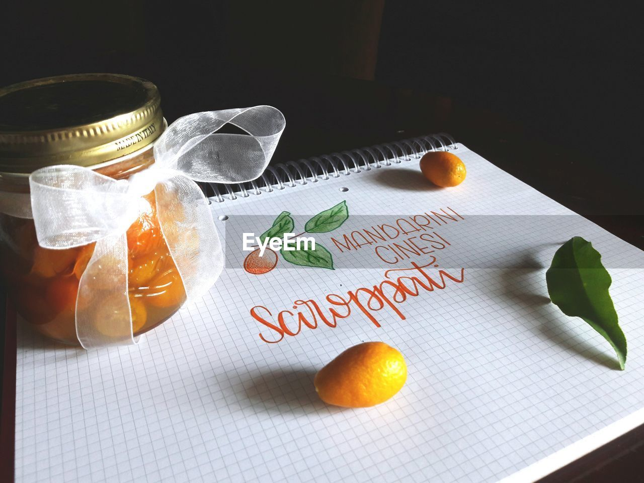 text, western script, high angle view, food and drink, communication, indoors, table, no people, food, healthy eating, paper, freshness, fruit, leaf, close-up, day