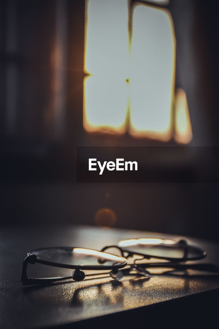 Close-up of eyeglasses on table at home