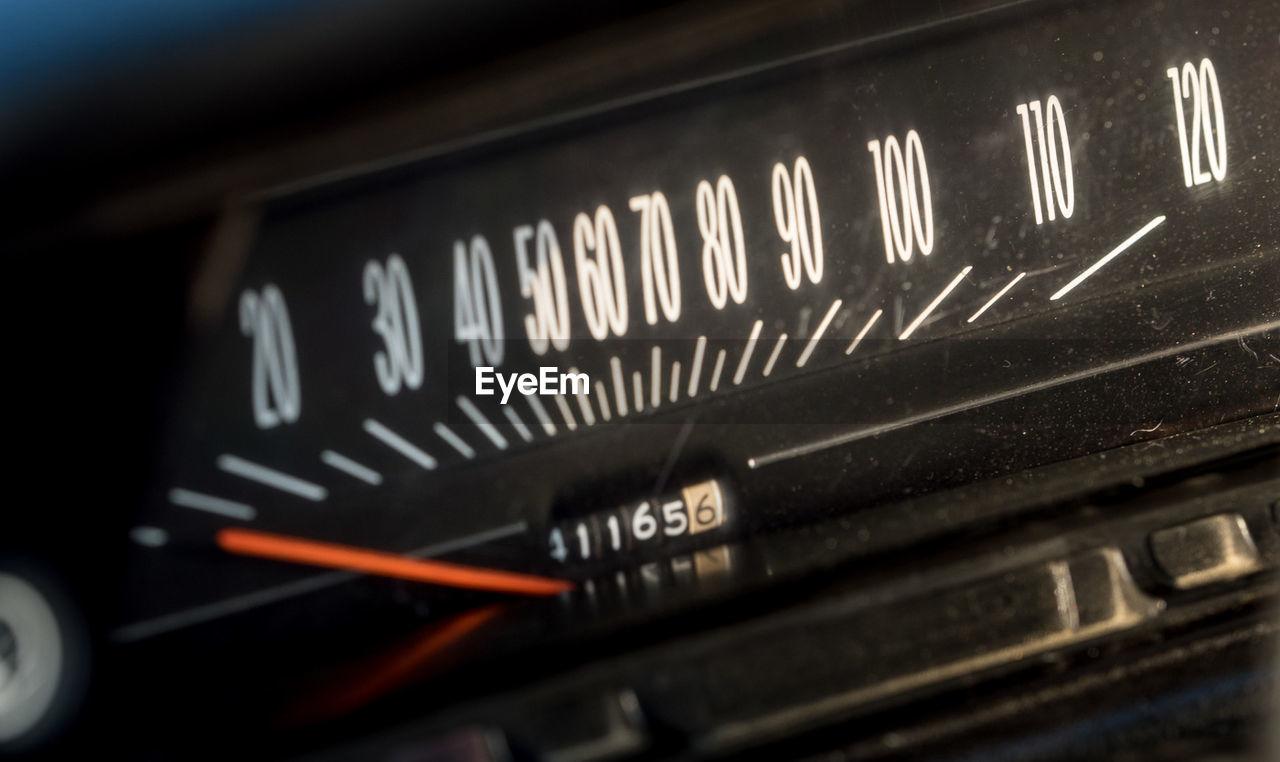 Close-up Of Vintage Car Speedometer