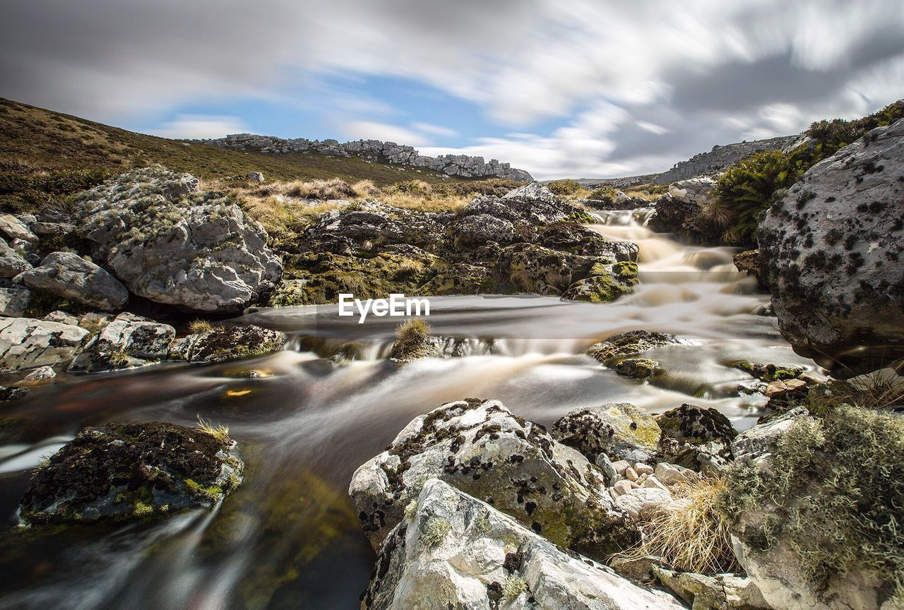 SCENIC VIEW OF RIVER FLOWING THROUGH ROCKS