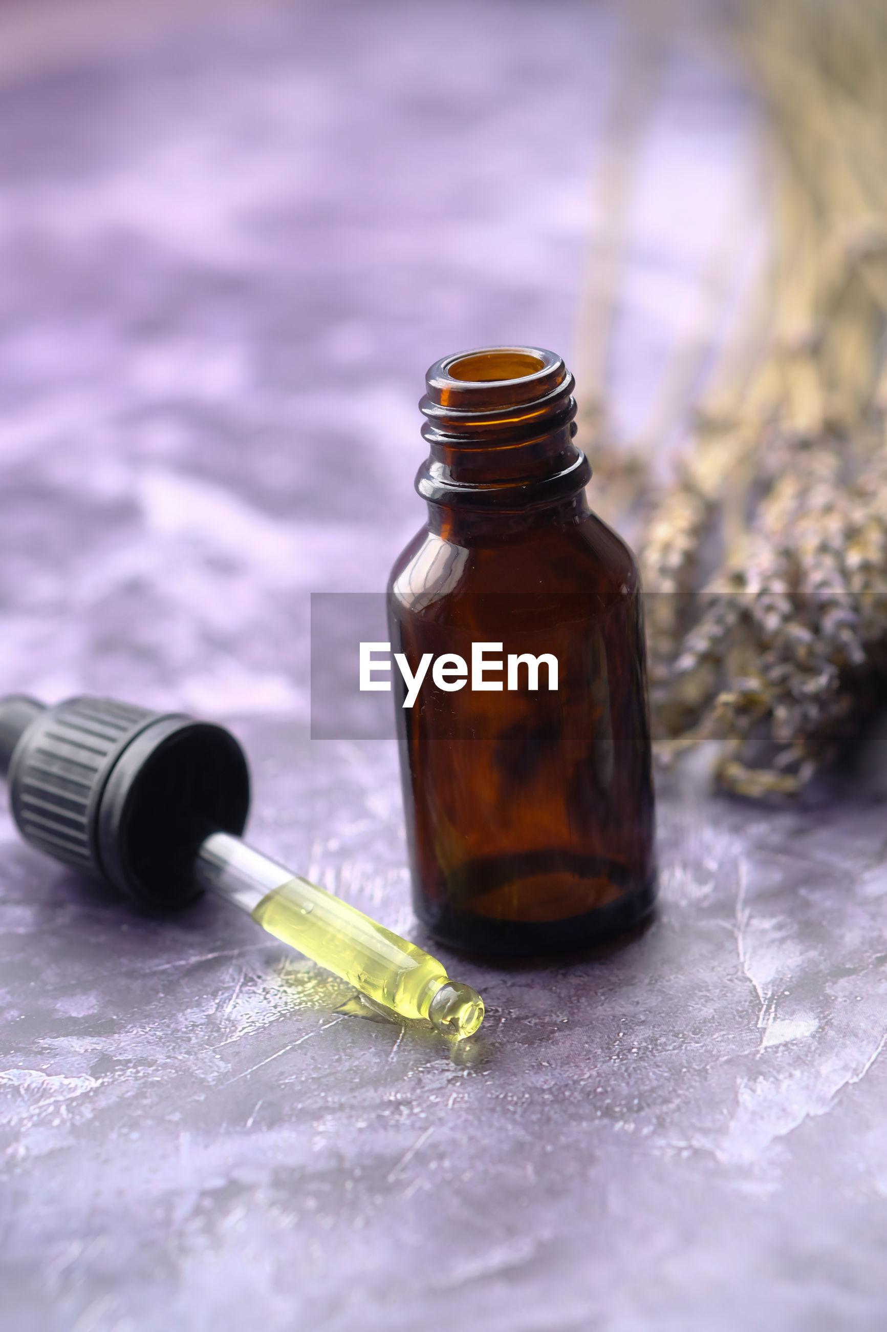 Alternative medicine herbal medicine on table, close up.