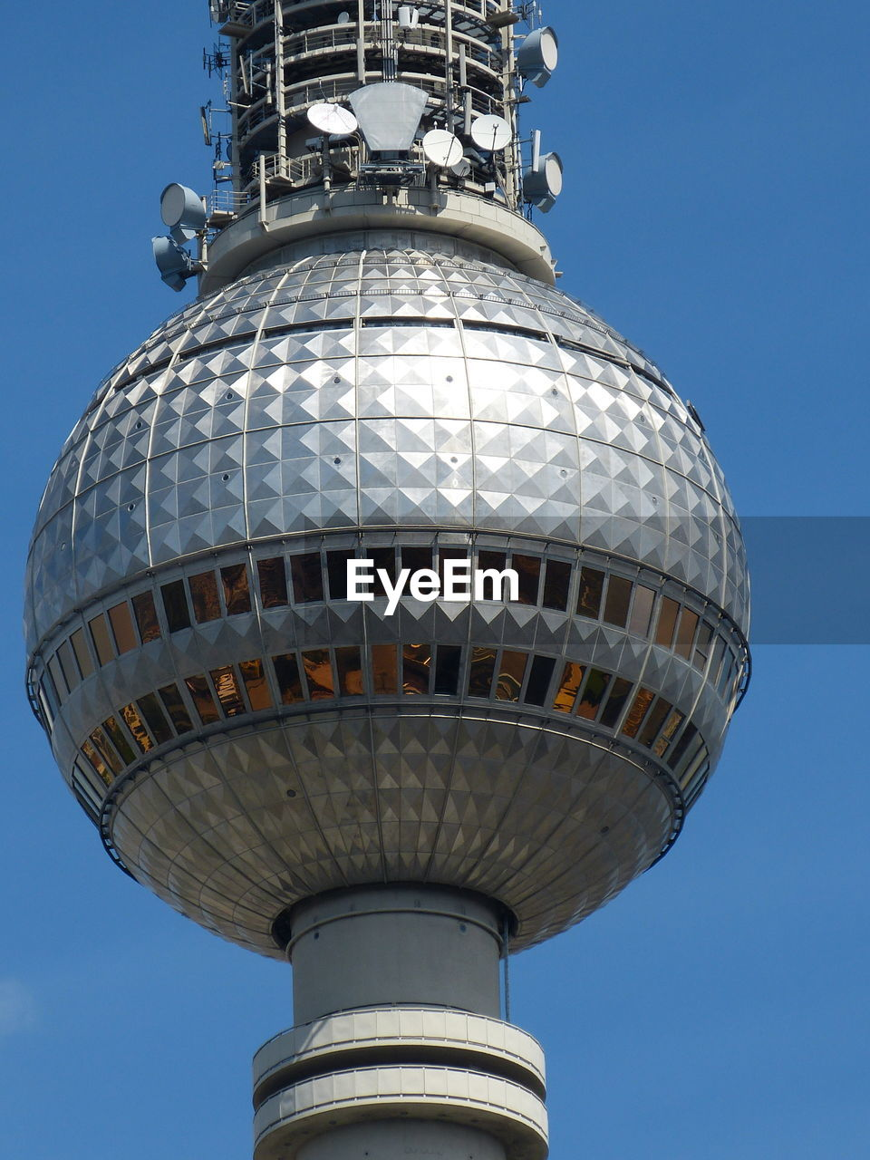 low angle view, sky, architecture, building exterior, nature, no people, tower, built structure, day, tall - high, clear sky, building, travel, tourism, city, sphere, blue, travel destinations, communication, outdoors, silver colored, global communications, spire