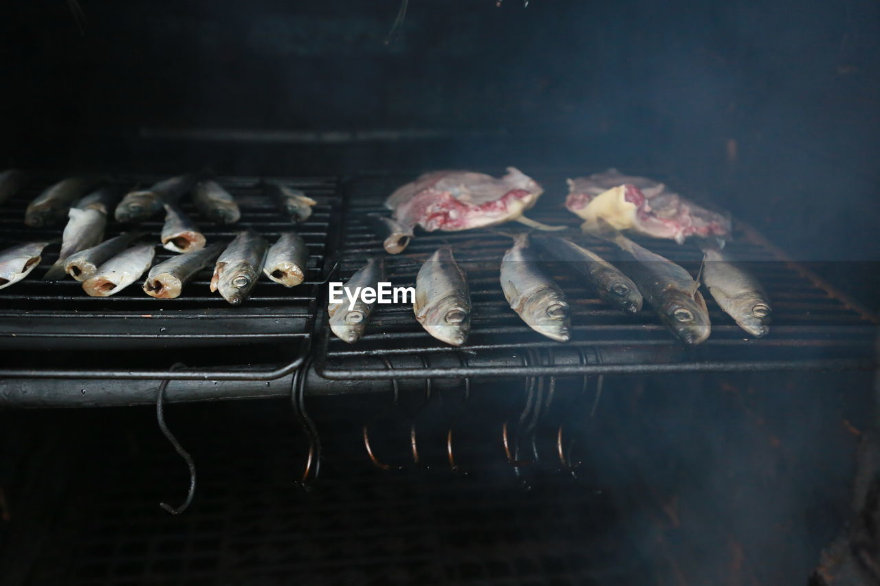 Close-Up Of Fish On Barbecue Grill