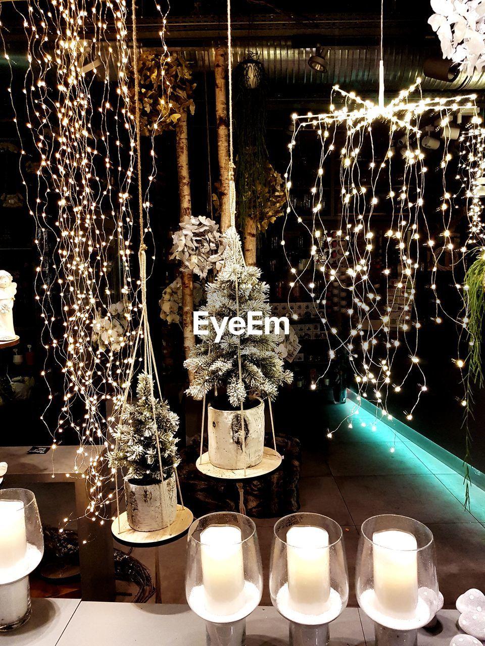 illuminated, christmas, christmas decoration, decoration, lighting equipment, hanging, christmas ornament, night, christmas tree, christmas lights, indoors, celebration, candle, no people, tree, close-up