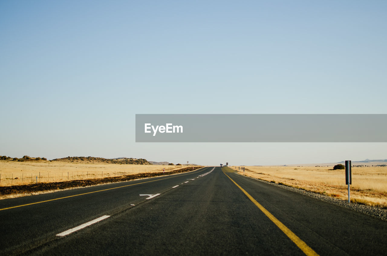 EMPTY ROAD AGAINST CLEAR SKY