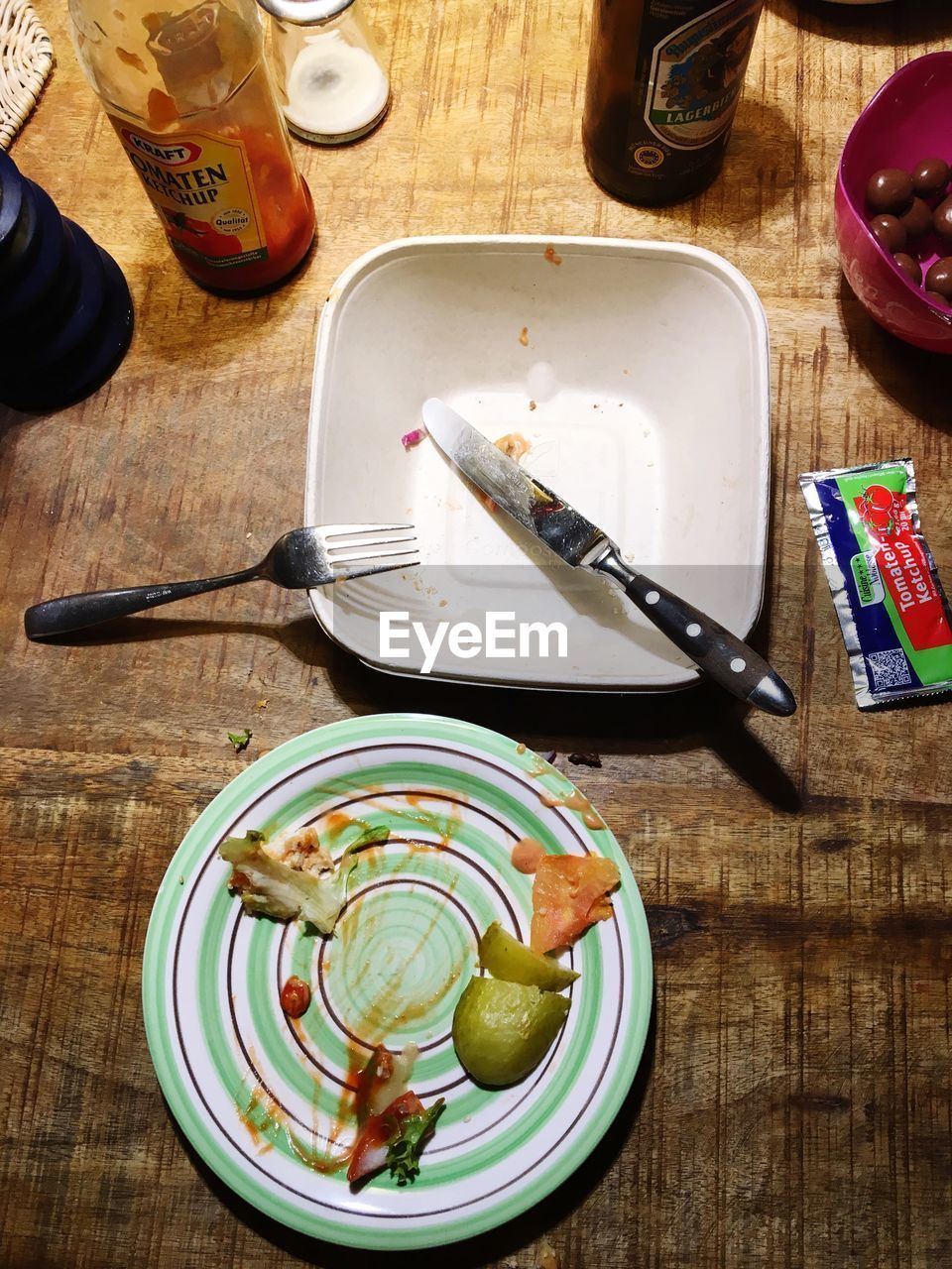 table, food and drink, high angle view, indoors, plate, food, wood - material, bowl, no people, fork, freshness, day, healthy eating, close-up, ready-to-eat