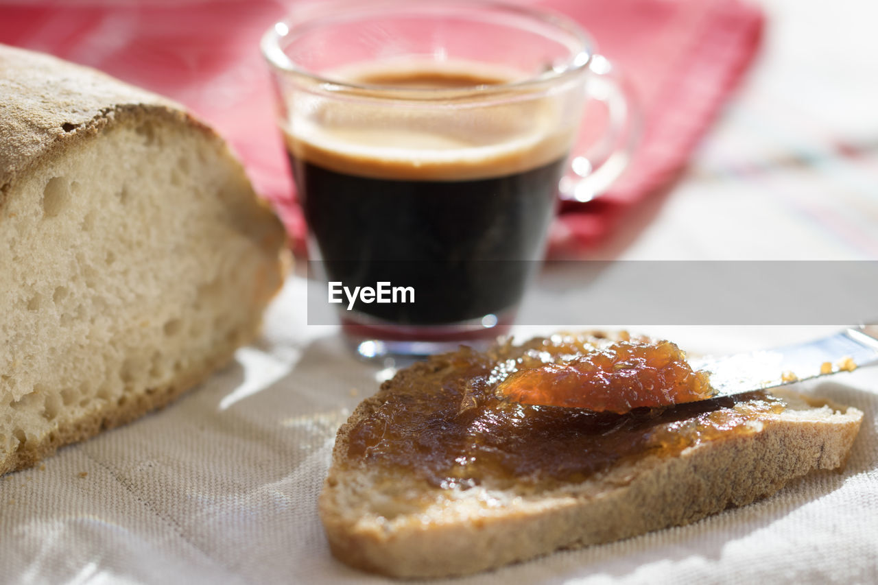 food and drink, bread, food, freshness, still life, close-up, drink, ready-to-eat, indoors, no people, focus on foreground, jam, indulgence, breakfast, plate, healthy eating, sweet food, day
