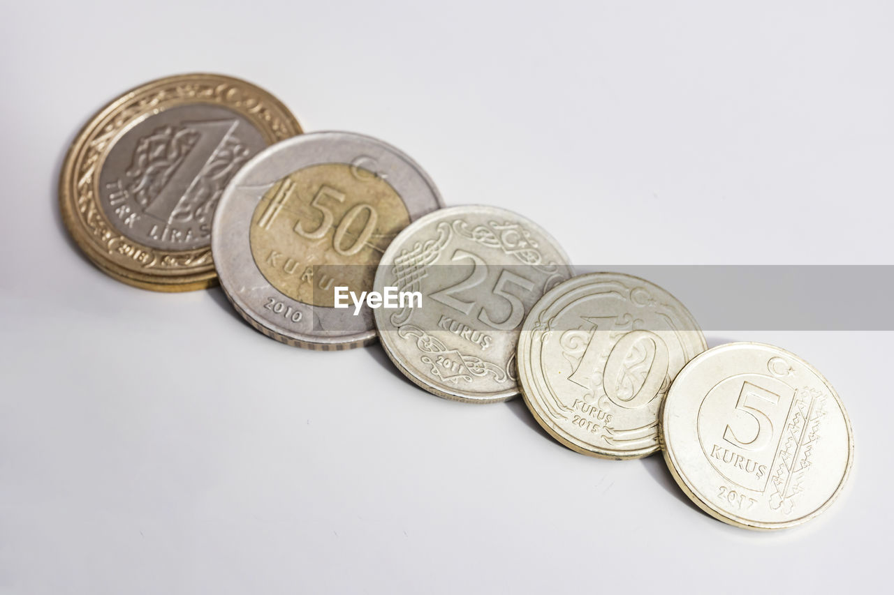 white background, studio shot, finance, wealth, indoors, coin, currency, still life, no people, close-up, metal, representation, text, group of objects, copy space, business, creativity, design, art and craft, human representation, economy