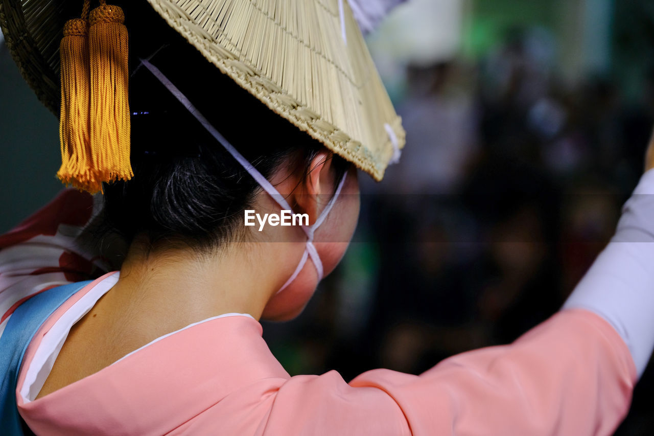 Rear view of woman in traditional clothing during awa odori