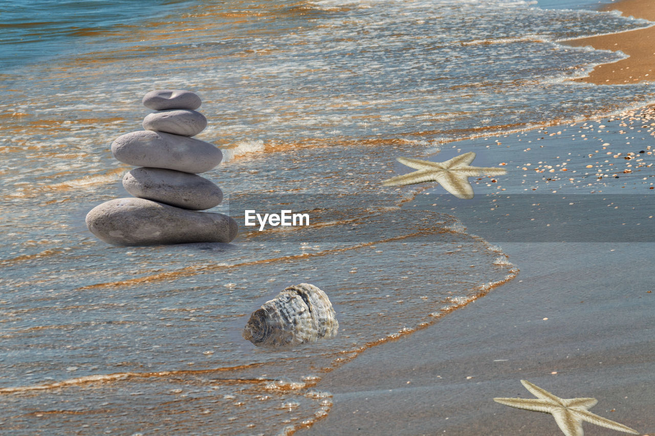 water, nature, sea, beach, no people, land, stone - object, stack, zen-like, balance, rock, stone, pebble, day, solid, tranquility, rock - object, close-up, high angle view, starfish