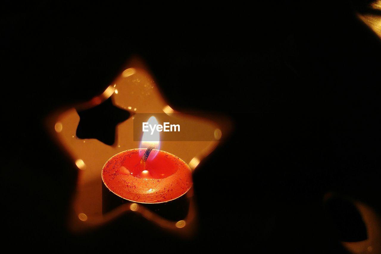 Close up of flame of diya