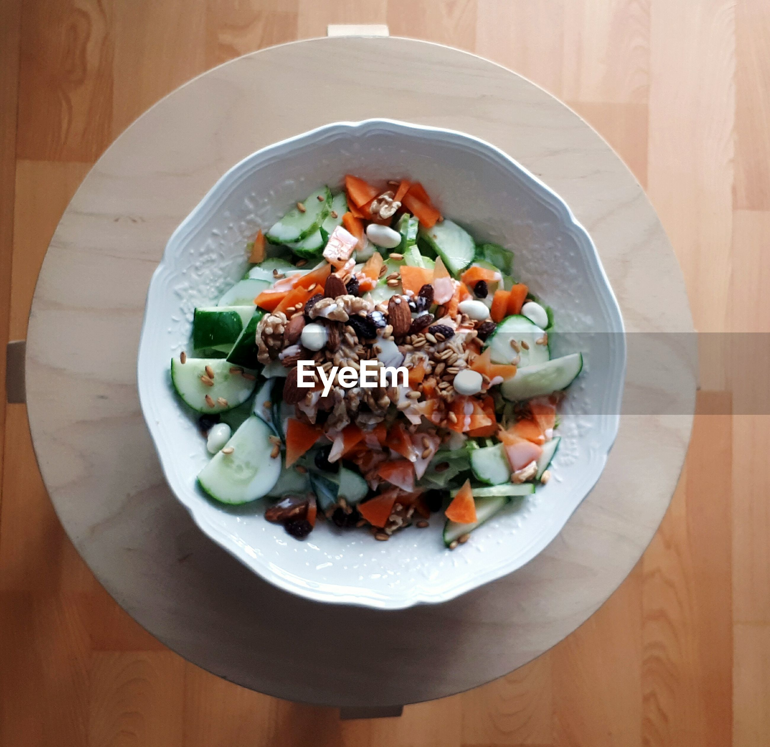 Directly above shot of salad in bowl on table