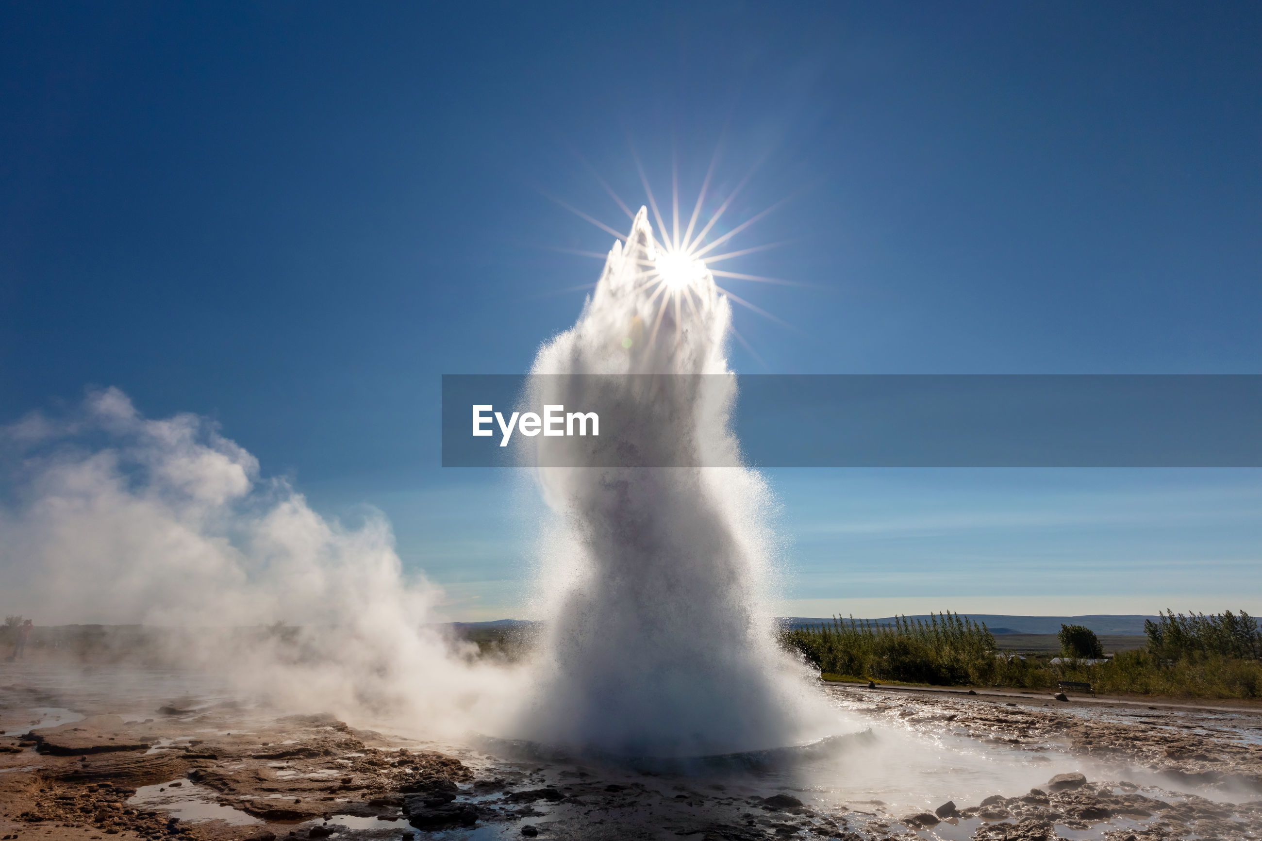 Strokkur geyser in the geysir geothermal area along the golden circle of iceland