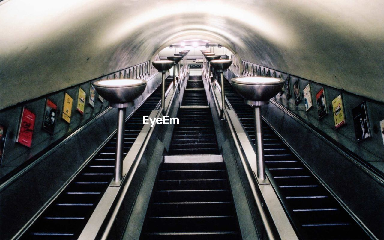 Low Angle View Of Empty Staircase Of Subway Station
