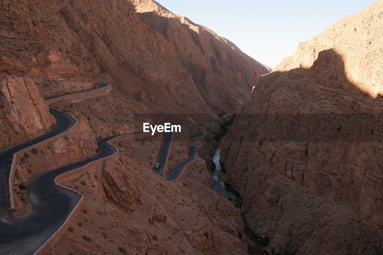 Road passing through cliffs
