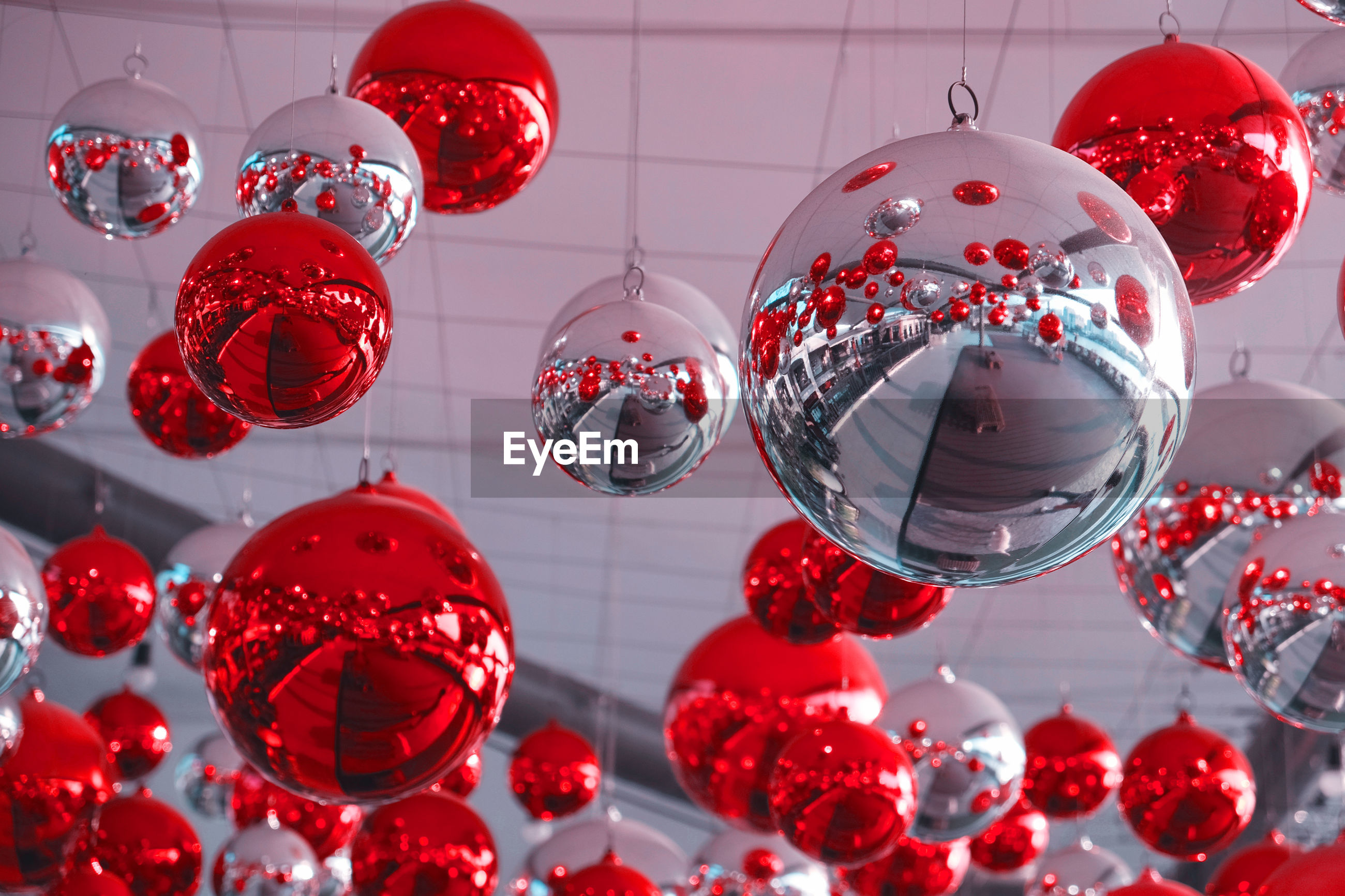 Low angle view of christmas ornaments