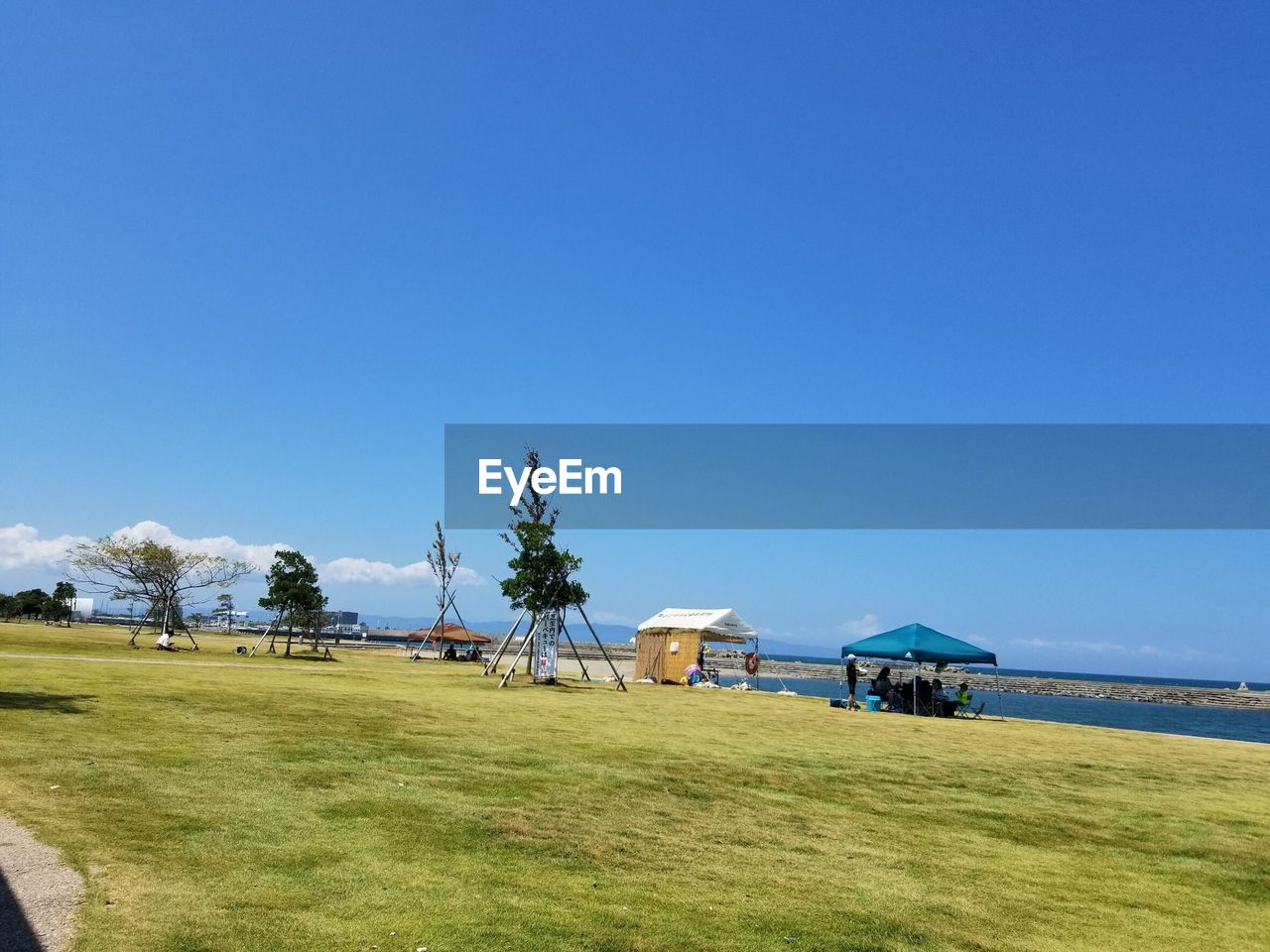 sky, land, plant, grass, blue, clear sky, copy space, tree, field, nature, scenics - nature, day, beauty in nature, tranquility, tranquil scene, environment, green color, landscape, architecture, beach, no people, outdoors