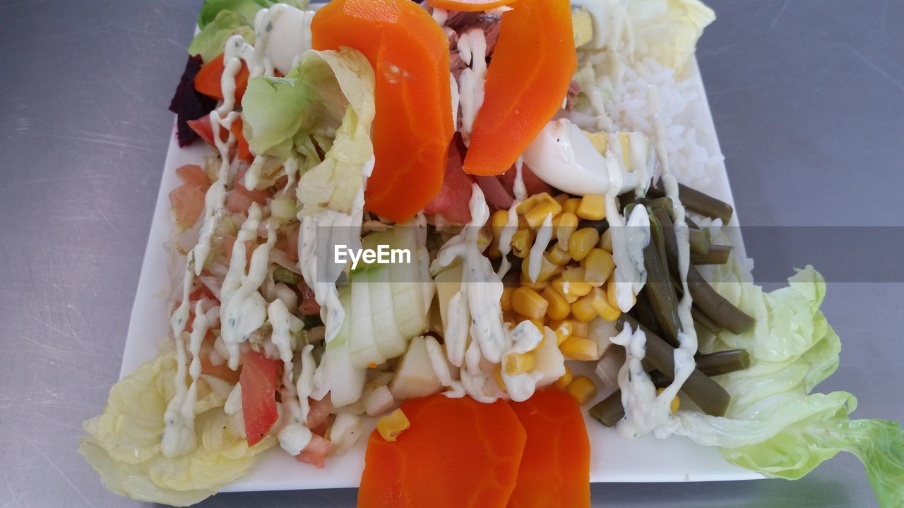 food and drink, food, healthy eating, freshness, ready-to-eat, vegetable, wellbeing, indoors, plate, still life, serving size, no people, meal, close-up, tomato, salad, high angle view, carrot, egg, meat, chopped, snack, temptation