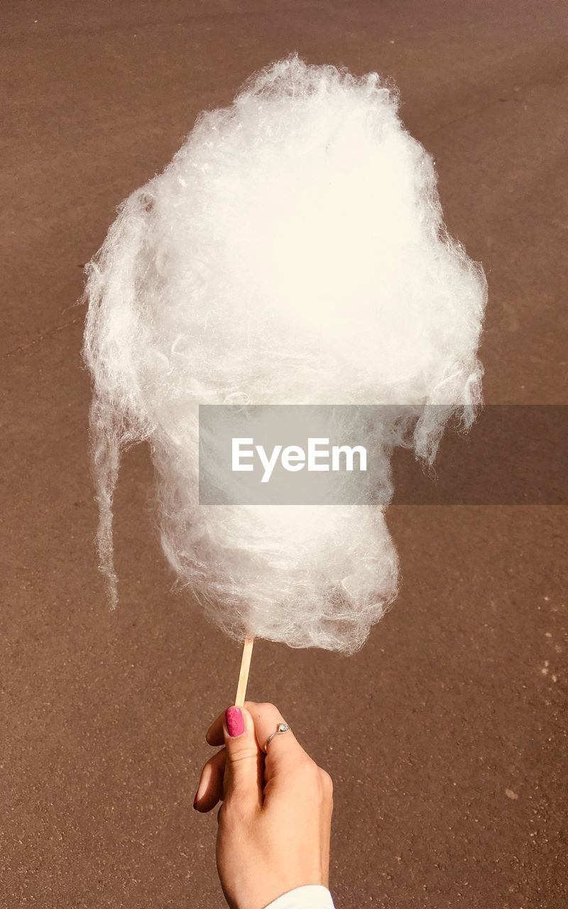 Cropped hand having cotton candy at beach