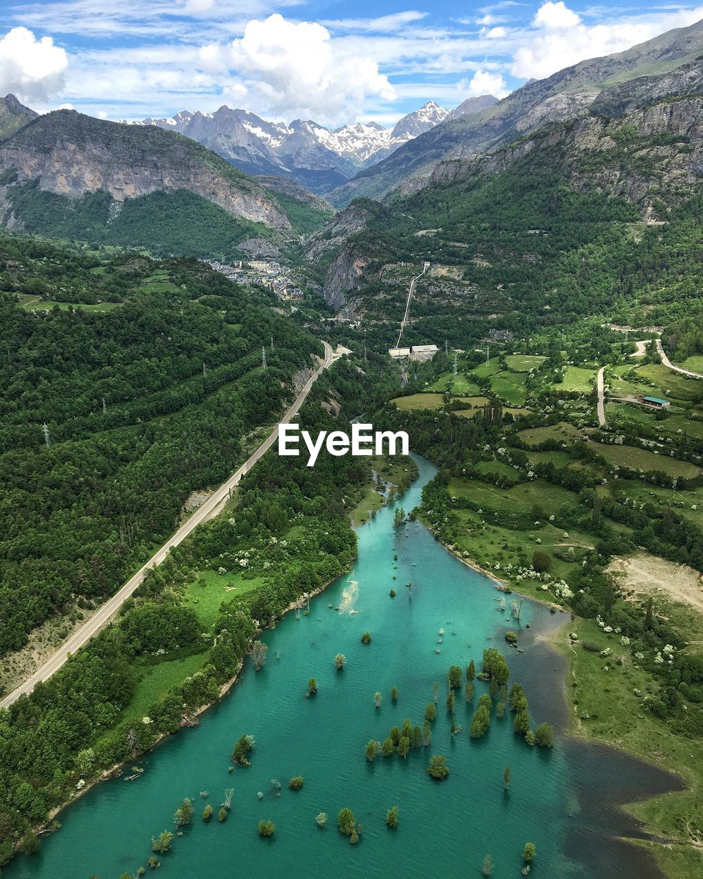 High Angle View Of River And Tree Mountains