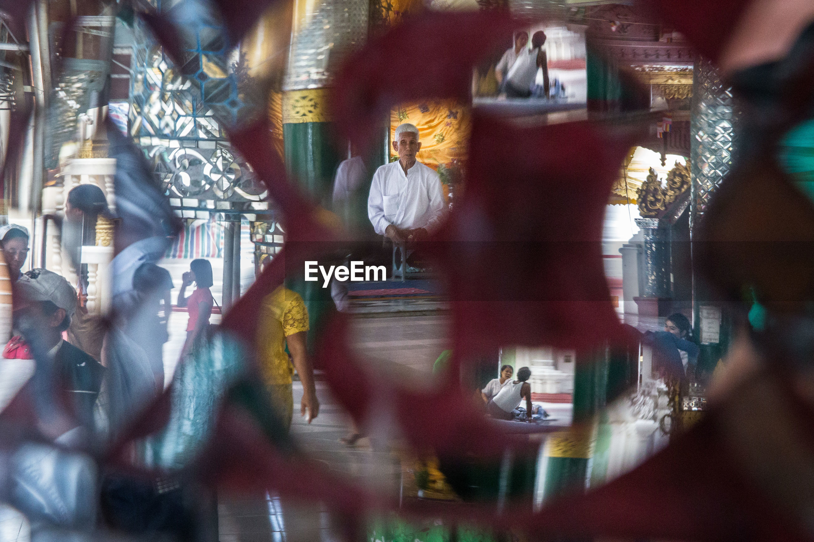 window, illuminated, close-up, reflection, full frame, group of people, multi colored, creativity, group of objects