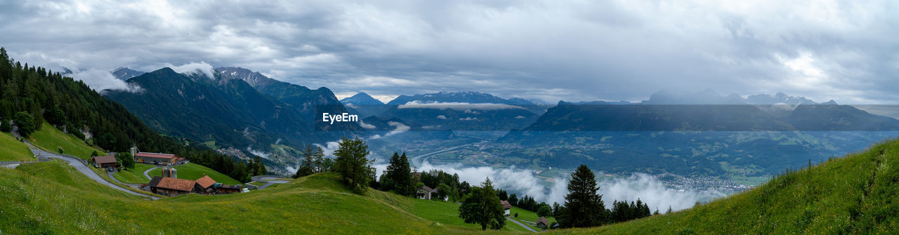 scenics - nature, mountain, beauty in nature, sky, cloud - sky, plant, tranquil scene, mountain range, environment, tree, tranquility, non-urban scene, nature, landscape, grass, green color, panoramic, day, idyllic, no people, outdoors, mountain peak