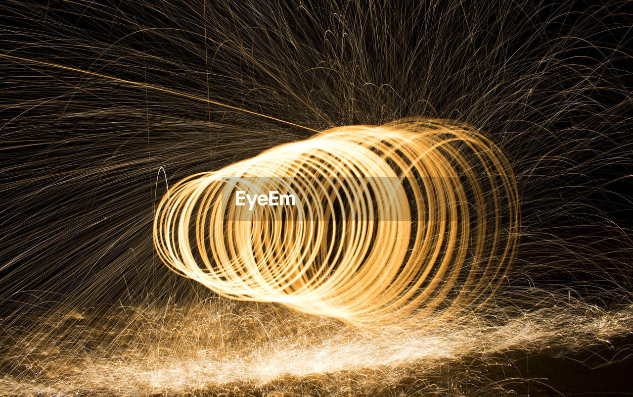 Spinning Wire Wool At Night