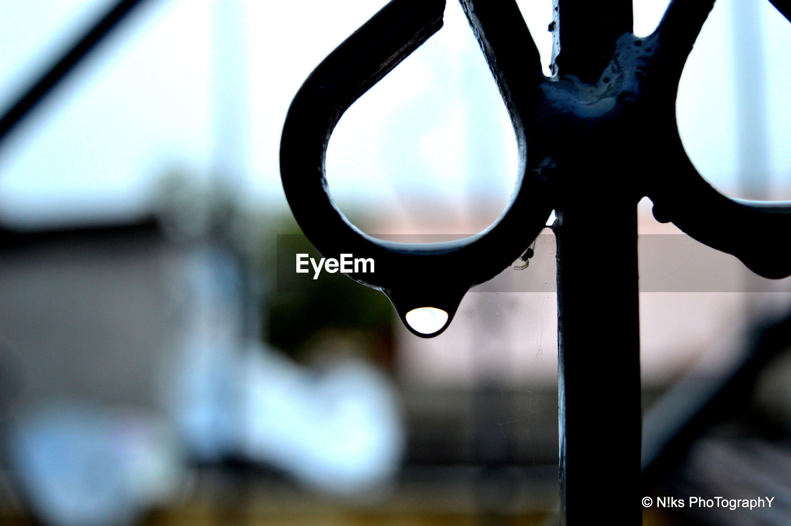 focus on foreground, close-up, metal, indoors, sky, circle, low angle view, drop, safety, metallic, protection, no people, transparent, selective focus, day, window, tree, hanging, glass - material, geometric shape